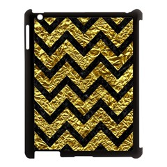 Chevron9 Black Marble & Gold Foil (r) Apple Ipad 3/4 Case (black) by trendistuff