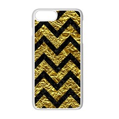Chevron9 Black Marble & Gold Foil (r) Apple Iphone 7 Plus White Seamless Case by trendistuff