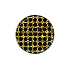 Circles1 Black Marble & Gold Foil (r) Hat Clip Ball Marker by trendistuff