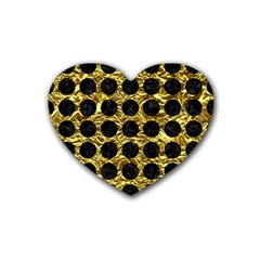 Circles1 Black Marble & Gold Foil (r) Rubber Coaster (heart)  by trendistuff