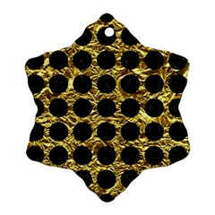Circles1 Black Marble & Gold Foil (r) Snowflake Ornament (two Sides) by trendistuff