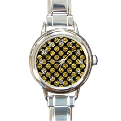 Circles2 Black Marble & Gold Foil Round Italian Charm Watch by trendistuff
