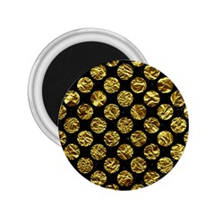 Circles2 Black Marble & Gold Foil 2 25  Magnets by trendistuff
