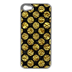 Circles2 Black Marble & Gold Foil Apple Iphone 5 Case (silver) by trendistuff