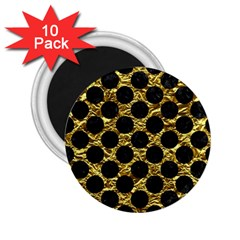 Circles2 Black Marble & Gold Foil (r) 2 25  Magnets (10 Pack)  by trendistuff