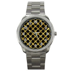 Circles2 Black Marble & Gold Foil (r) Sport Metal Watch by trendistuff