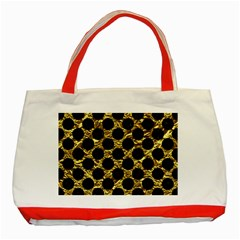 Circles2 Black Marble & Gold Foil (r) Classic Tote Bag (red) by trendistuff