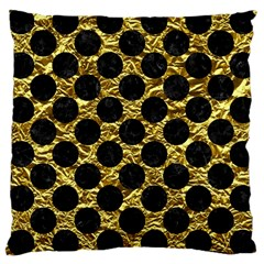 Circles2 Black Marble & Gold Foil (r) Large Cushion Case (two Sides) by trendistuff