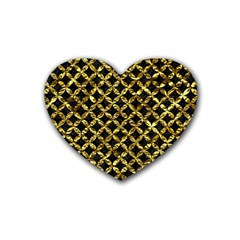 Circles3 Black Marble & Gold Foil Heart Coaster (4 Pack)  by trendistuff