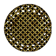 Circles3 Black Marble & Gold Foil Ornament (round Filigree) by trendistuff