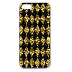 Diamond1 Black Marble & Gold Foil Apple Seamless Iphone 5 Case (clear) by trendistuff