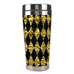 Diamond1 Black Marble & Gold Foil Stainless Steel Travel Tumblers by trendistuff