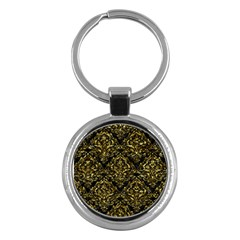 Damask1 Black Marble & Gold Foil Key Chains (round)  by trendistuff