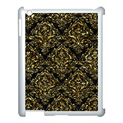 Damask1 Black Marble & Gold Foil Apple Ipad 3/4 Case (white) by trendistuff