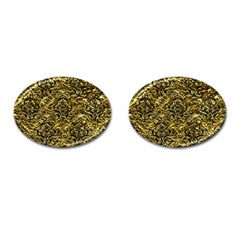 Damask1 Black Marble & Gold Foil (r) Cufflinks (oval) by trendistuff