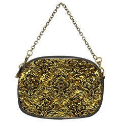 Damask1 Black Marble & Gold Foil (r) Chain Purses (two Sides)  by trendistuff