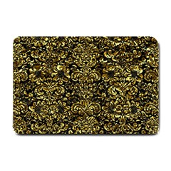 Damask2 Black Marble & Gold Foil Small Doormat  by trendistuff