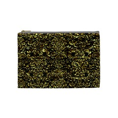 Damask2 Black Marble & Gold Foil Cosmetic Bag (medium)  by trendistuff