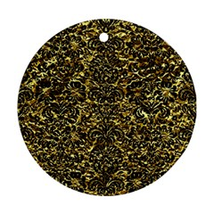 Damask2 Black Marble & Gold Foil (r) Round Ornament (two Sides) by trendistuff