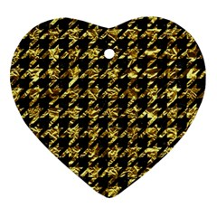 Houndstooth1 Black Marble & Gold Foil Ornament (heart) by trendistuff