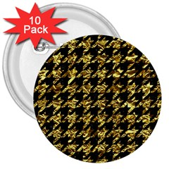 Houndstooth1 Black Marble & Gold Foil 3  Buttons (10 Pack)