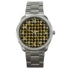 Houndstooth1 Black Marble & Gold Foil Sport Metal Watch by trendistuff
