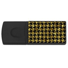 Houndstooth1 Black Marble & Gold Foil Rectangular Usb Flash Drive by trendistuff