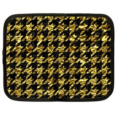 Houndstooth1 Black Marble & Gold Foil Netbook Case (xl)  by trendistuff