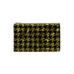 Houndstooth1 Black Marble & Gold Foil Cosmetic Bag (small)  by trendistuff