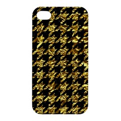 Houndstooth1 Black Marble & Gold Foil Apple Iphone 4/4s Hardshell Case by trendistuff