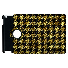 Houndstooth1 Black Marble & Gold Foil Apple Ipad 2 Flip 360 Case by trendistuff