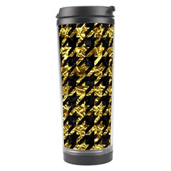 Houndstooth1 Black Marble & Gold Foil Travel Tumbler by trendistuff