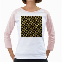 Houndstooth2 Black Marble & Gold Foil Girly Raglans by trendistuff