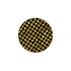 Houndstooth2 Black Marble & Gold Foil Golf Ball Marker (4 Pack) by trendistuff