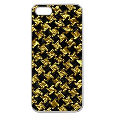 Houndstooth2 Black Marble & Gold Foil Apple Seamless Iphone 5 Case (clear) by trendistuff