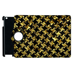 Houndstooth2 Black Marble & Gold Foil Apple Ipad 2 Flip 360 Case by trendistuff