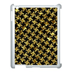 Houndstooth2 Black Marble & Gold Foil Apple Ipad 3/4 Case (white) by trendistuff