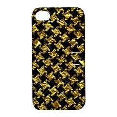Houndstooth2 Black Marble & Gold Foil Apple Iphone 4/4s Hardshell Case With Stand by trendistuff