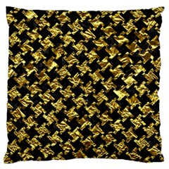 Houndstooth2 Black Marble & Gold Foil Large Flano Cushion Case (one Side) by trendistuff