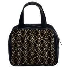 Hexagon1 Black Marble & Gold Foil Classic Handbags (2 Sides) by trendistuff