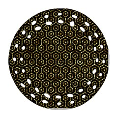 Hexagon1 Black Marble & Gold Foil Round Filigree Ornament (two Sides) by trendistuff