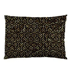 Hexagon1 Black Marble & Gold Foil Pillow Case (two Sides) by trendistuff