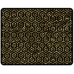 Hexagon1 Black Marble & Gold Foil Double Sided Fleece Blanket (medium)  by trendistuff