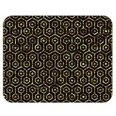 Hexagon1 Black Marble & Gold Foil Double Sided Flano Blanket (medium)  by trendistuff