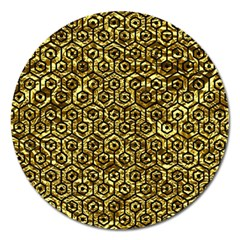 Hexagon1 Black Marble & Gold Foil (r) Magnet 5  (round) by trendistuff