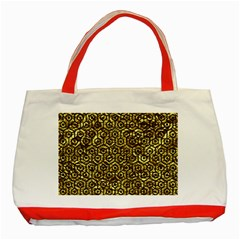 Hexagon1 Black Marble & Gold Foil (r) Classic Tote Bag (red) by trendistuff