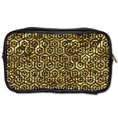 Hexagon1 Black Marble & Gold Foil (r) Toiletries Bags 2 Side by trendistuff