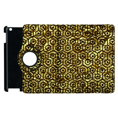 Hexagon1 Black Marble & Gold Foil (r) Apple Ipad 2 Flip 360 Case by trendistuff