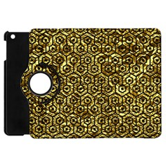 Hexagon1 Black Marble & Gold Foil (r) Apple Ipad Mini Flip 360 Case by trendistuff