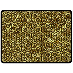 Hexagon1 Black Marble & Gold Foil (r) Double Sided Fleece Blanket (large)  by trendistuff